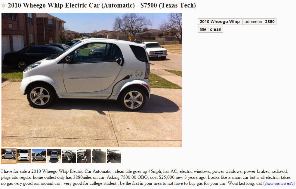 Mesquite Hugger Electric Transportation On Lubbock Craigslist Today