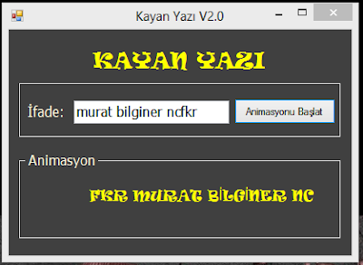 Kodbank c görsel programlama 24 kayan yazı animasyonu v2 0