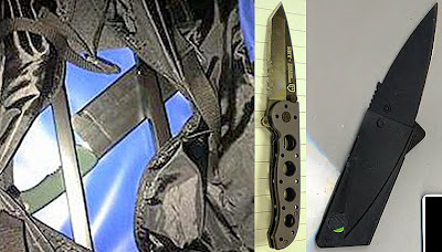 (L-R) Knife Concealed Under Lining of Bag (CLE), Knife Discovered COncealed in Small of Back (BUR), Credit Caard Knife (ABQ)