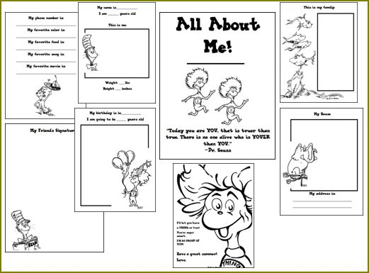 Dr. Seuss All About Me Printable
