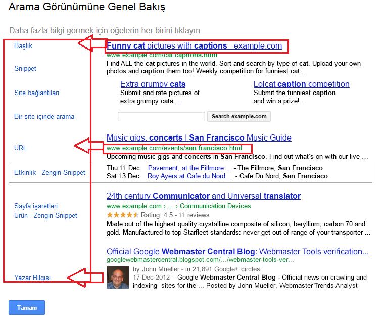 Google Webmaster Tools - Arama Görünümüne Genel Bakış