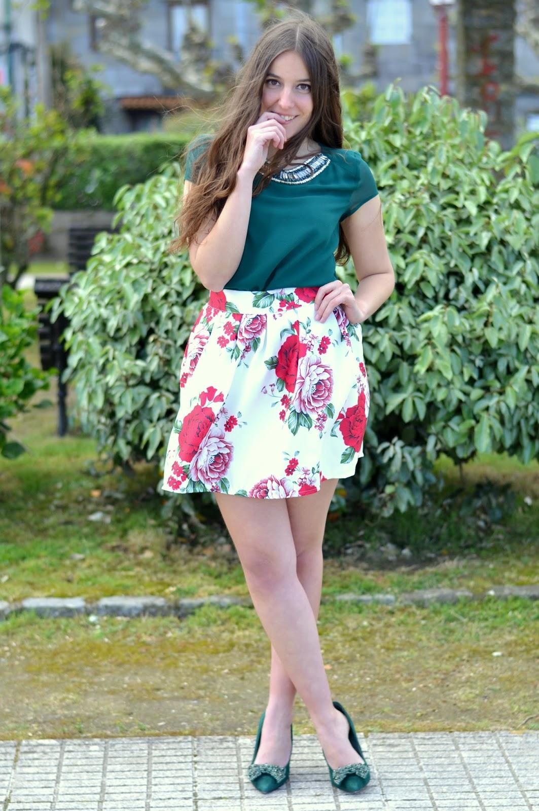 Falda de flores de Sheinside