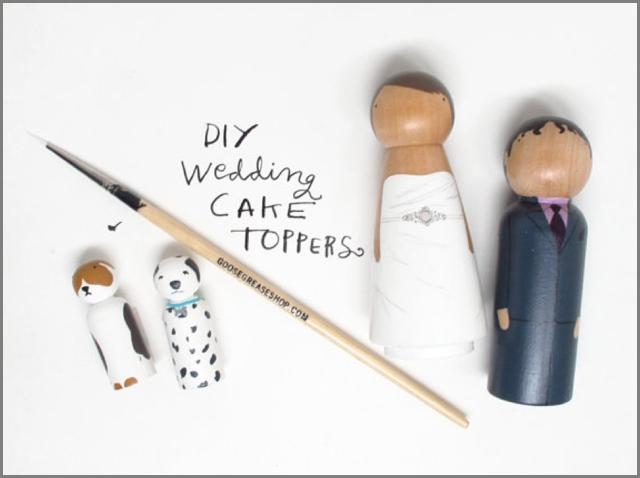 Cute DIY Peg Doll Wedding Cake Toppers