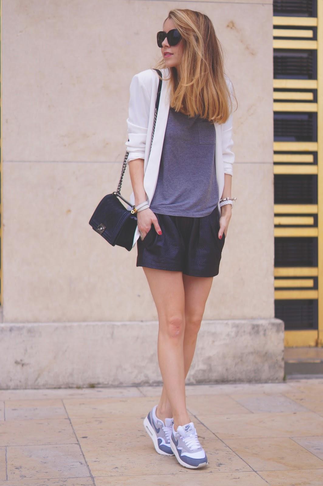 leather shorts, isabel marant, chanel boy, streetstyle, fashionblogger, nike