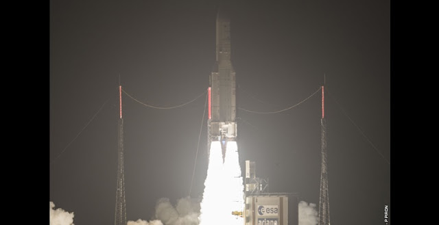 Ariane 5 liftoff on VA228. Credit: Arianespace
