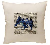 almofada vintage, almofada passarinhos, almofada romântica, almofada azul