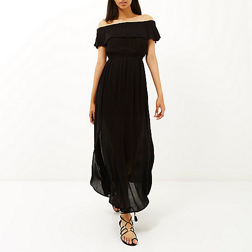 black cheesecloth dress, river island black maxi dress, black bardot maxi dress,