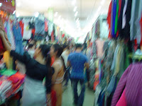 Shops with genuine clothing in Vietnam markets