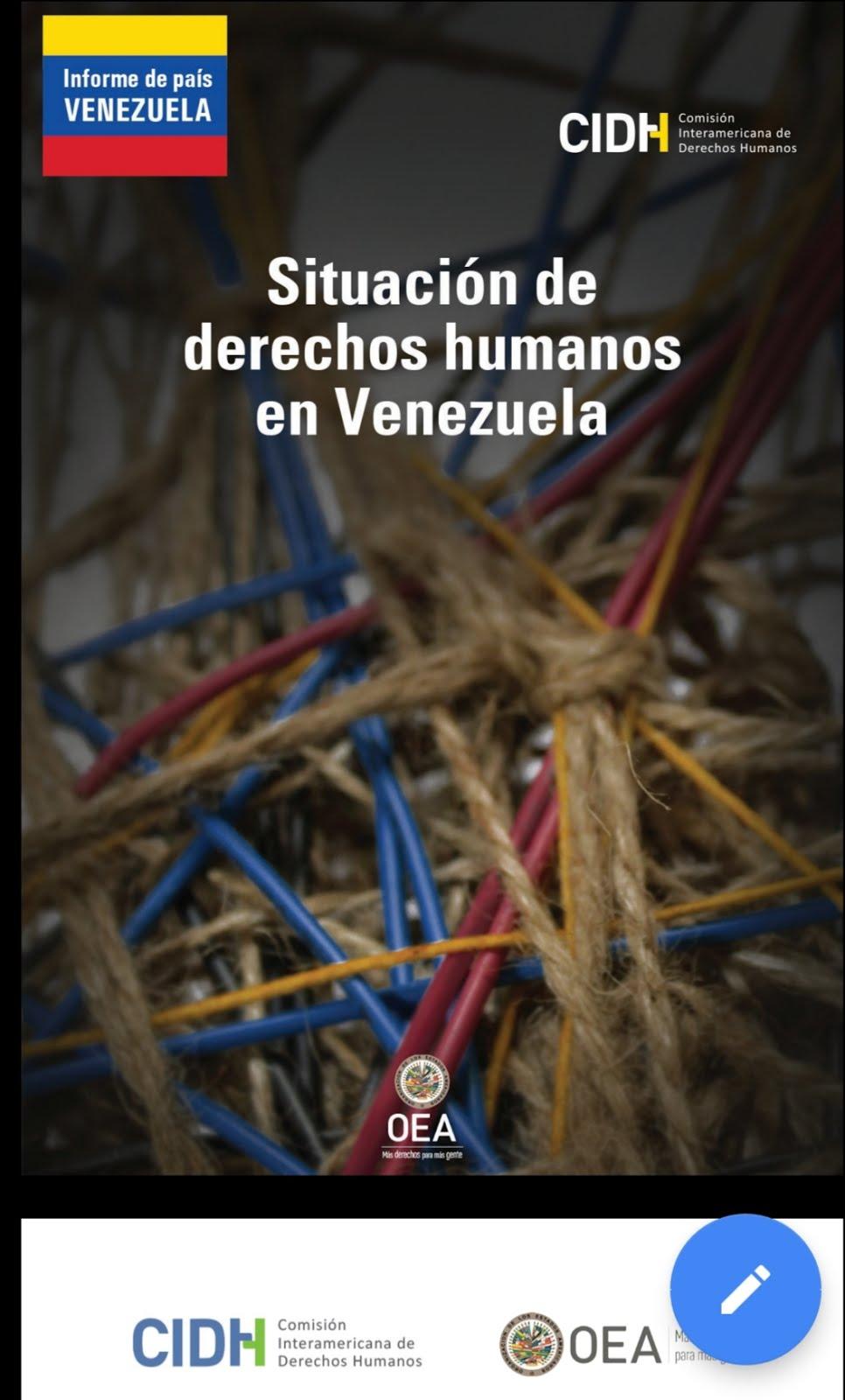 """CIDH: Informe """"Institucionalidad democrática, estado de derecho y derechos humanos en Venezuela""""."""