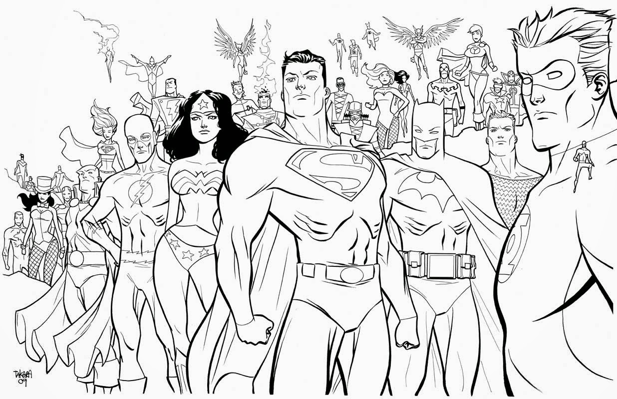 Printable amazing Superheroes all in one coloring page for boys ...