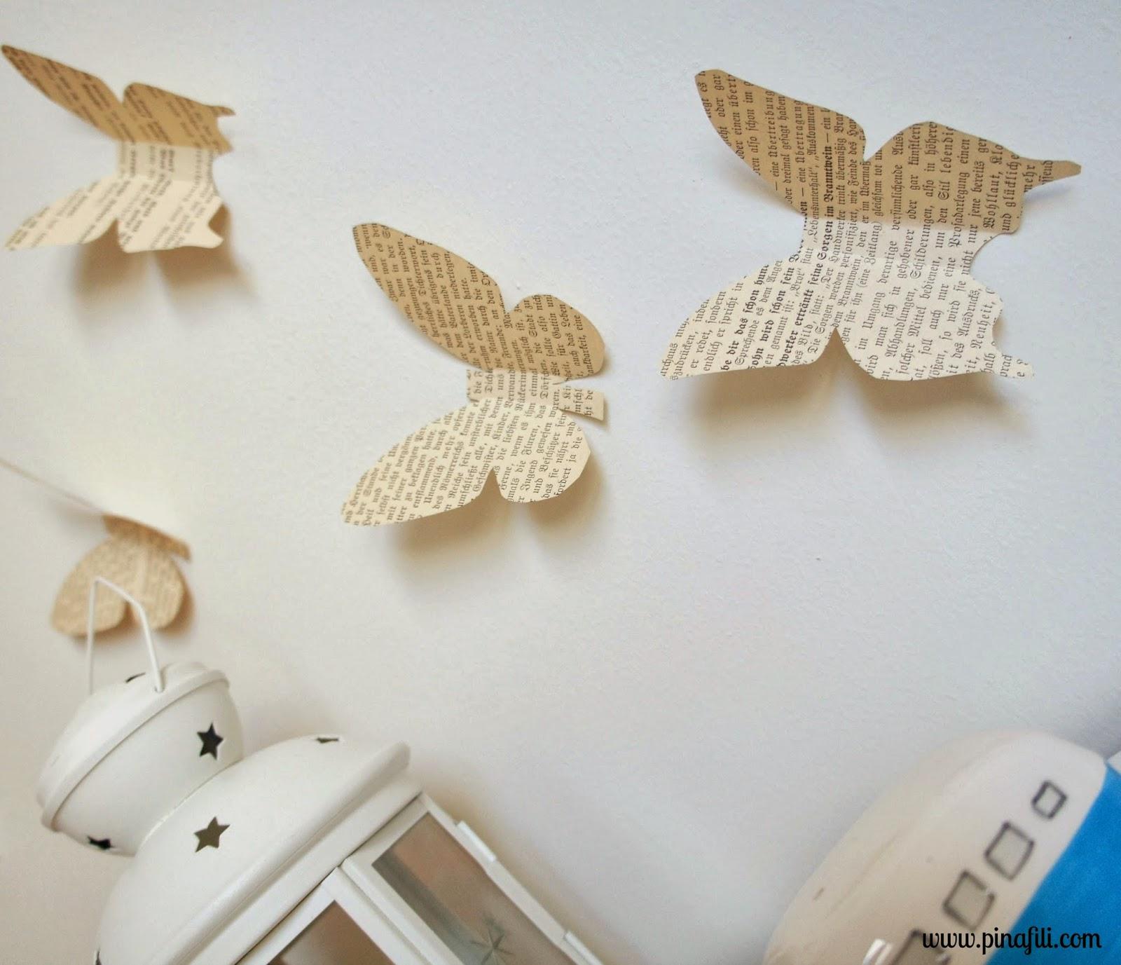 Pinafili diy mariposas de papel para decorar for Como decorar paredes con papel