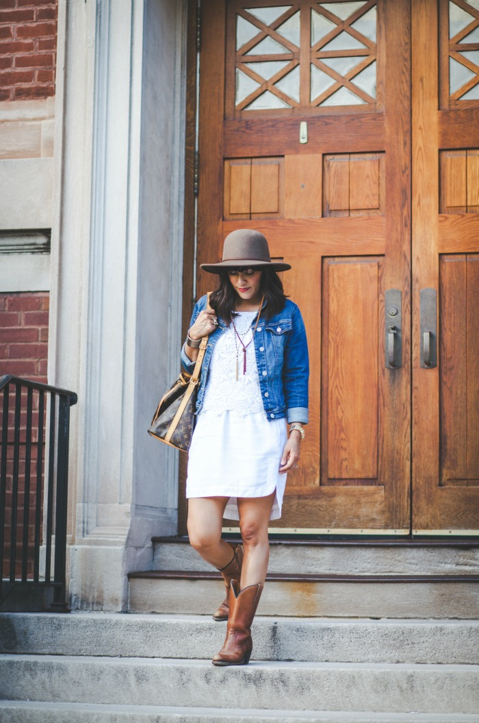 white on white for fall - denim jacket,  boots, hat