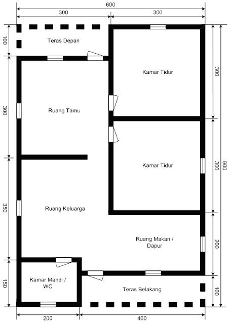 denah rumah minimalis tipe 54