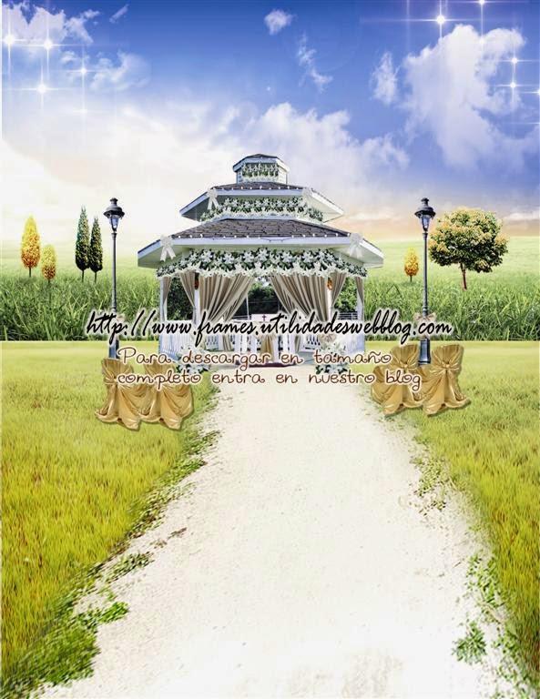 fondo para fotomontajes de bodas en un paisaje de oto u00f1o