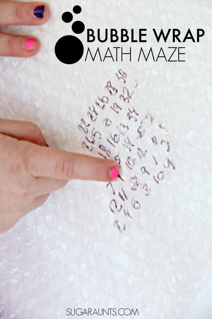 This first grade math activity is a great way to build a foundation in addition and subtraction.  Besides being a creative way to practice math skills, this bubble wrap math maze is big time fun and great for fine motor skills like intrinsic hand strength and an open web space.  Also great for visual scanning skills in kids, too.