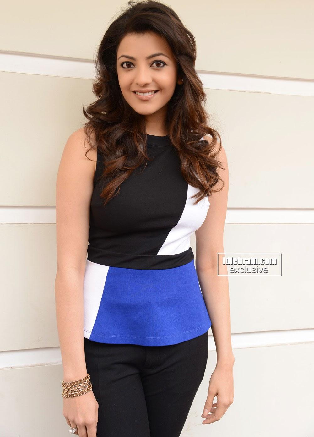 Kajal Agarwal blue and black