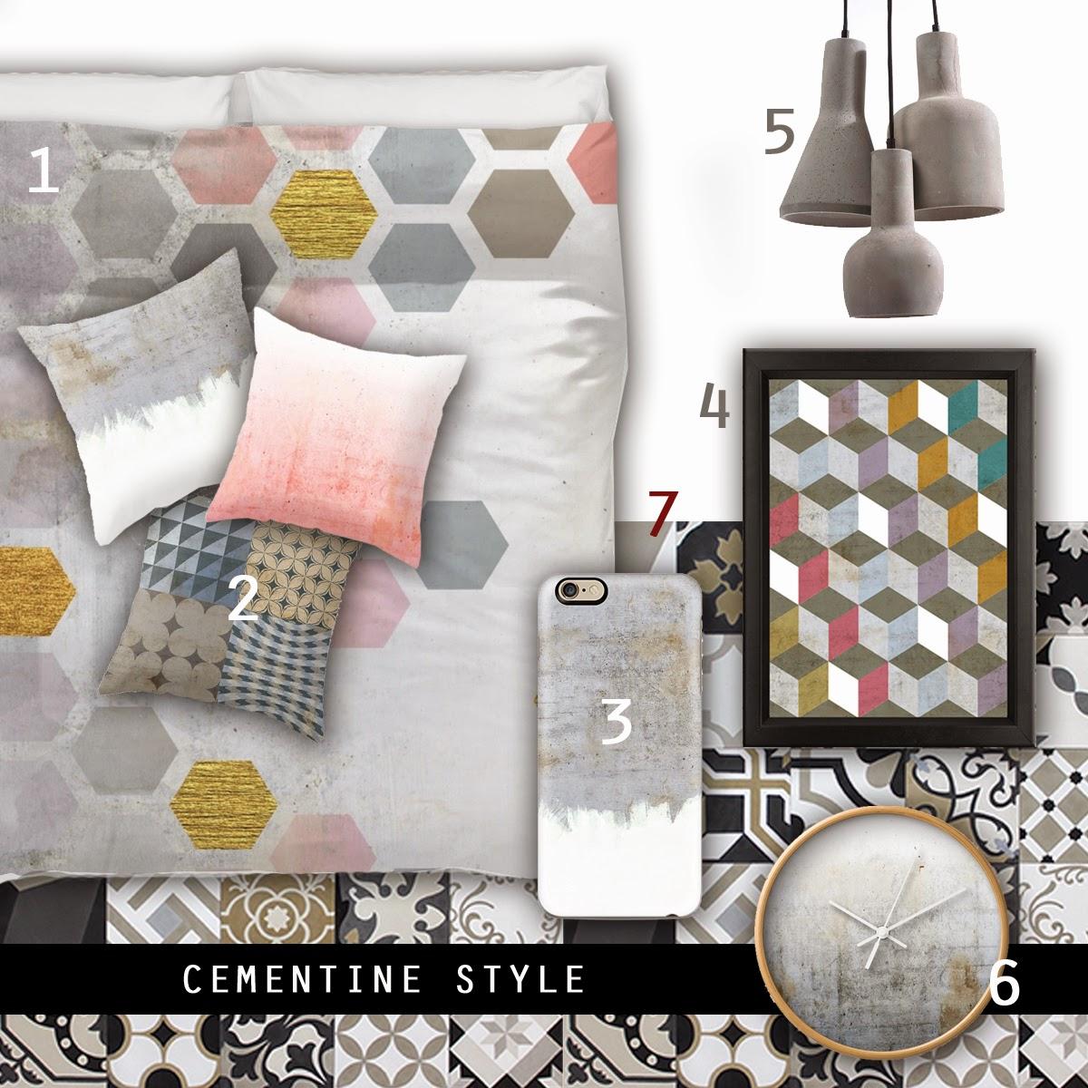 Interiors trend cementine style moodboard coffee break - Bagno cementine ...