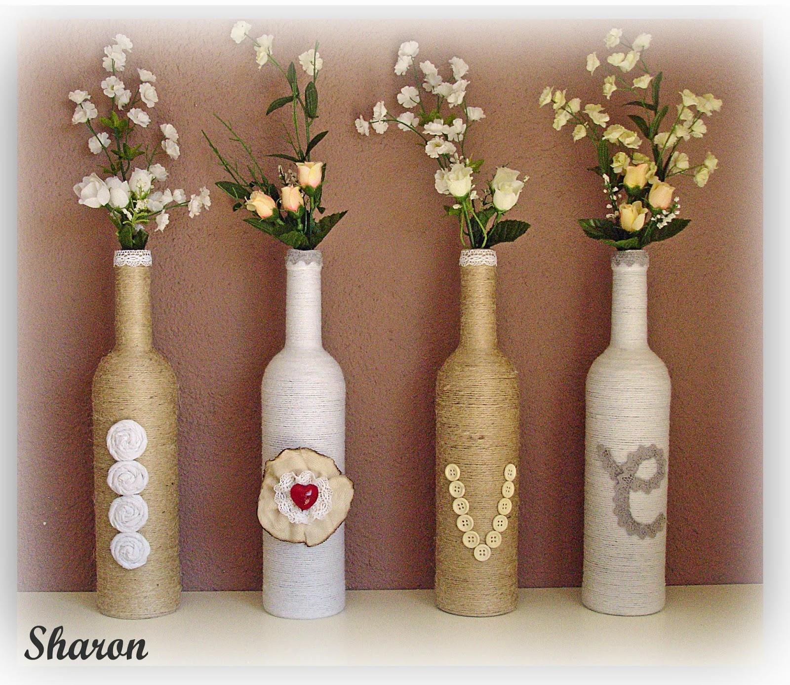 Las manualidades de sharon regalo de novios botellas floreros - Fabrica de floreros de vidrio ...