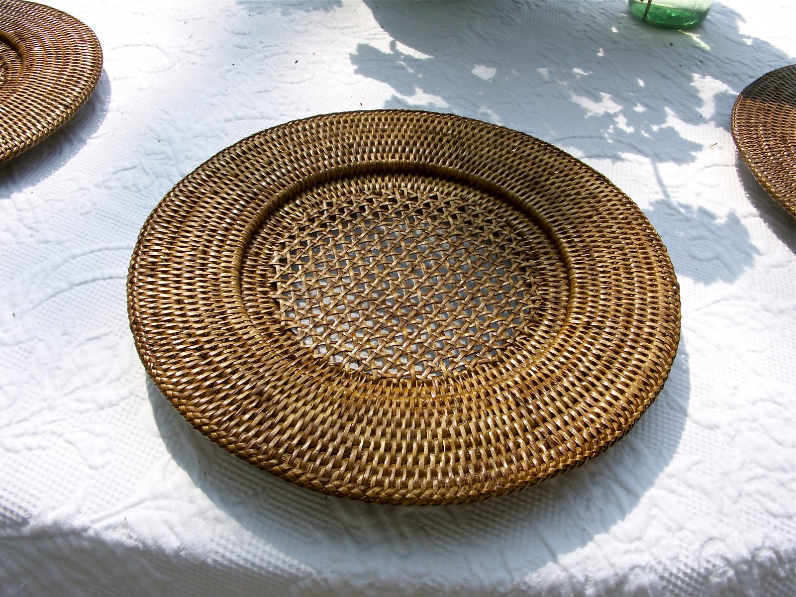The Caspari Rattan Chargers Also Added An Organic Texture That Sings Of  Summer And Barbecue.