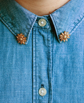 Golden floral gemstone earrings as DIY jeweled collar