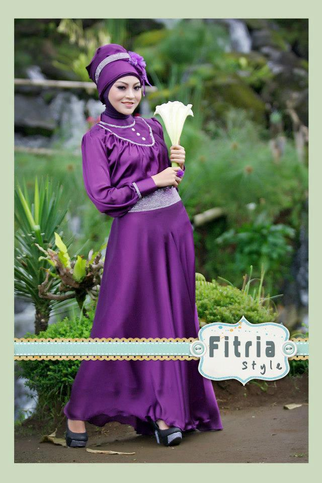 baju gamis lovely violet by fitria style rp