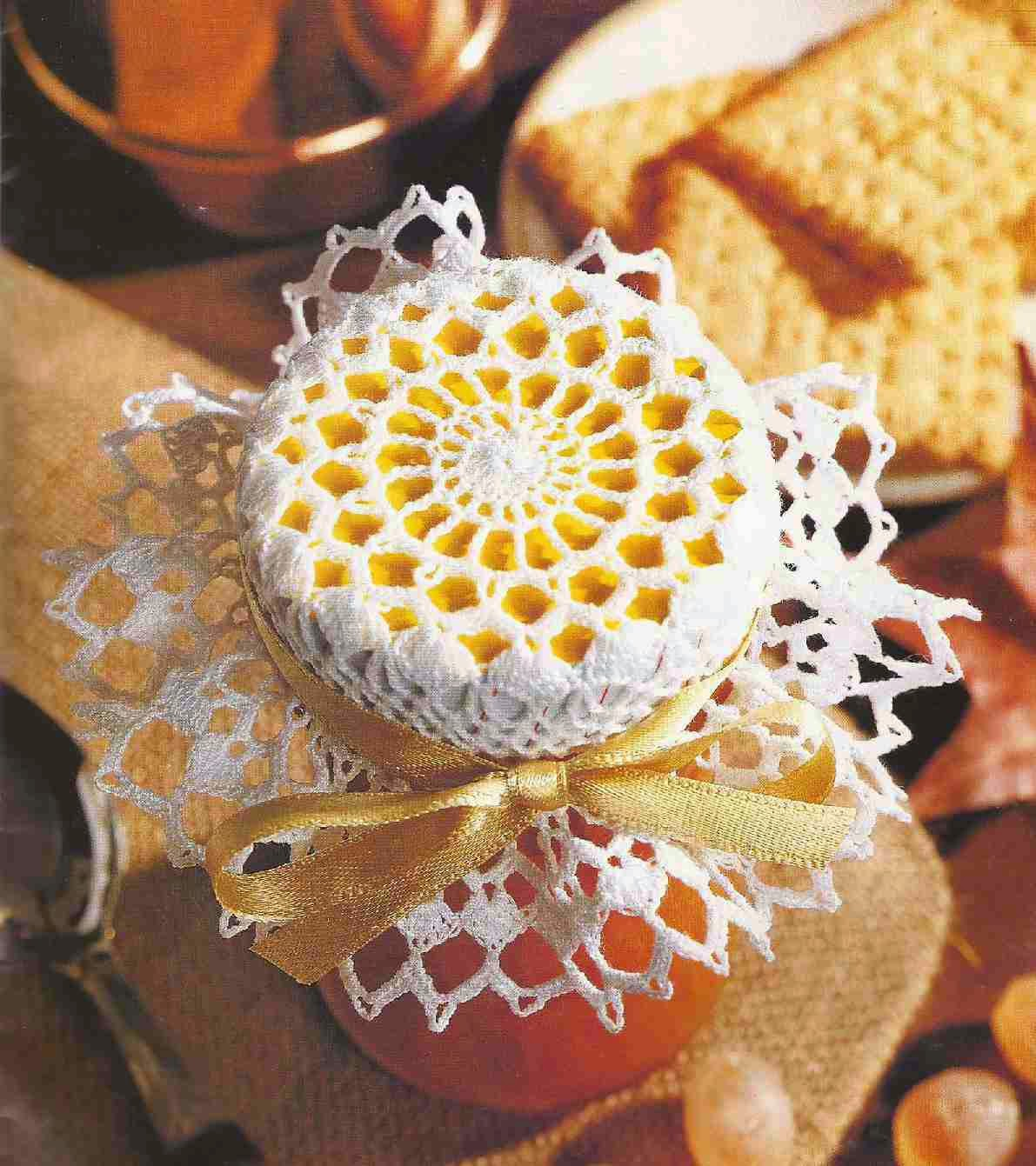 """#84 Adorno para Frasco a Crochet """"Dulces con Sabor a Miel"""""""
