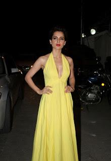 Kangana Ranaut in a Yellow Gown at Tanu Weds Manu Retruns Success Party