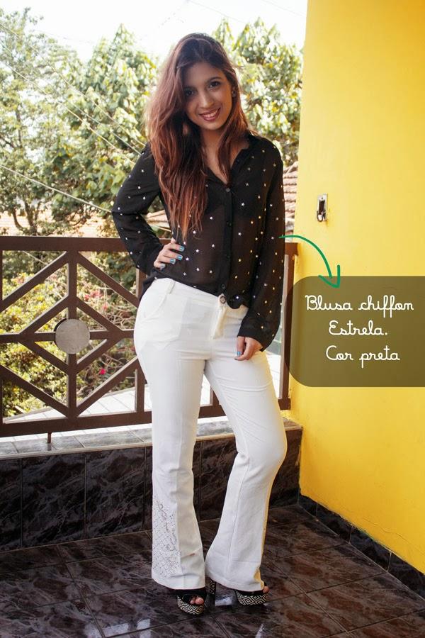 Jéssica Guedes com Blusa chiffon Estrela. Cor preta