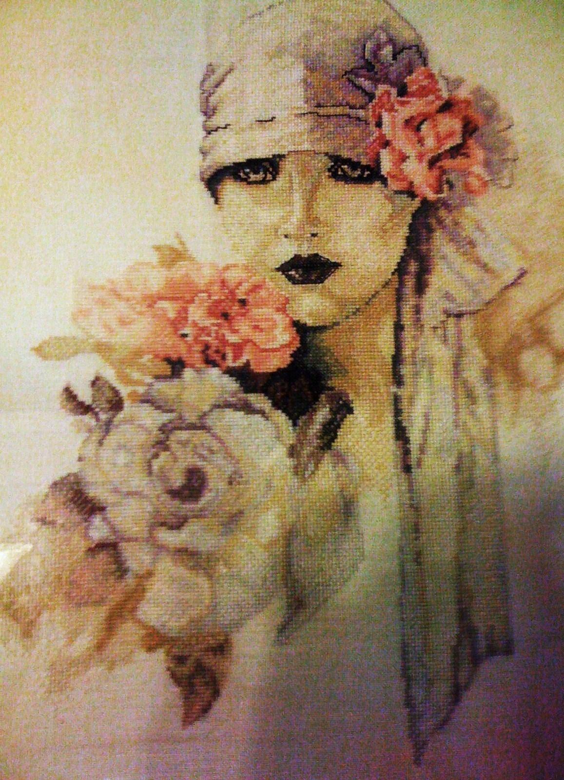 дама и розы схема вышивки с лентами