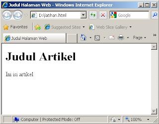 Tampilan Hasil Pembuatan HTML