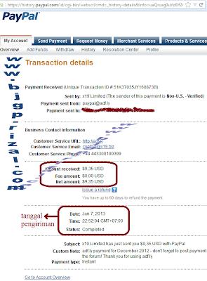 Pembayaran adf.ly ke-8 bulan Januari
