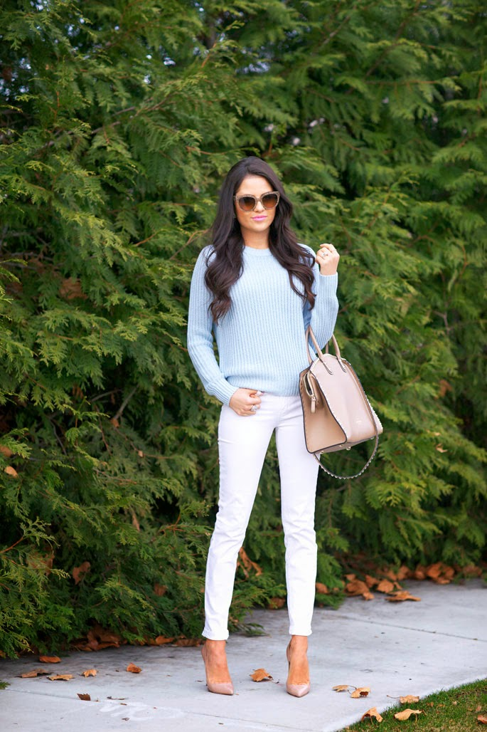 Stylish White Jeans, Light Blue Sweater And Big Luxury Handbag