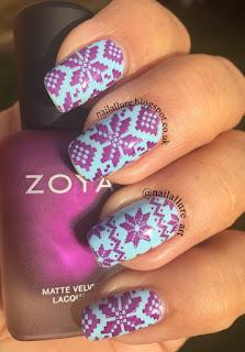 Color Club Factory Girl stamping Zoya Matte Velvet Iris, MoYou London Festive 04