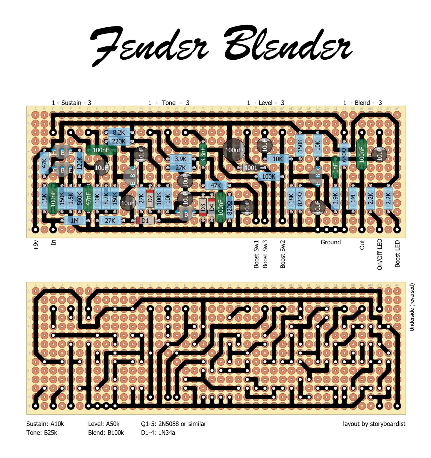 Fender Blender Fuzz Pedal Schematic Explained Wiring Diagrams Perf And Pcb Effects Layouts Simple Circuit