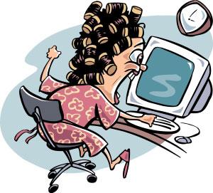 Cartoon Lady At Computer