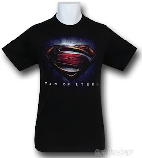 Click here to purchase your Superman Man of Steel movie logo black t-shirt at SuperHeroStuff!
