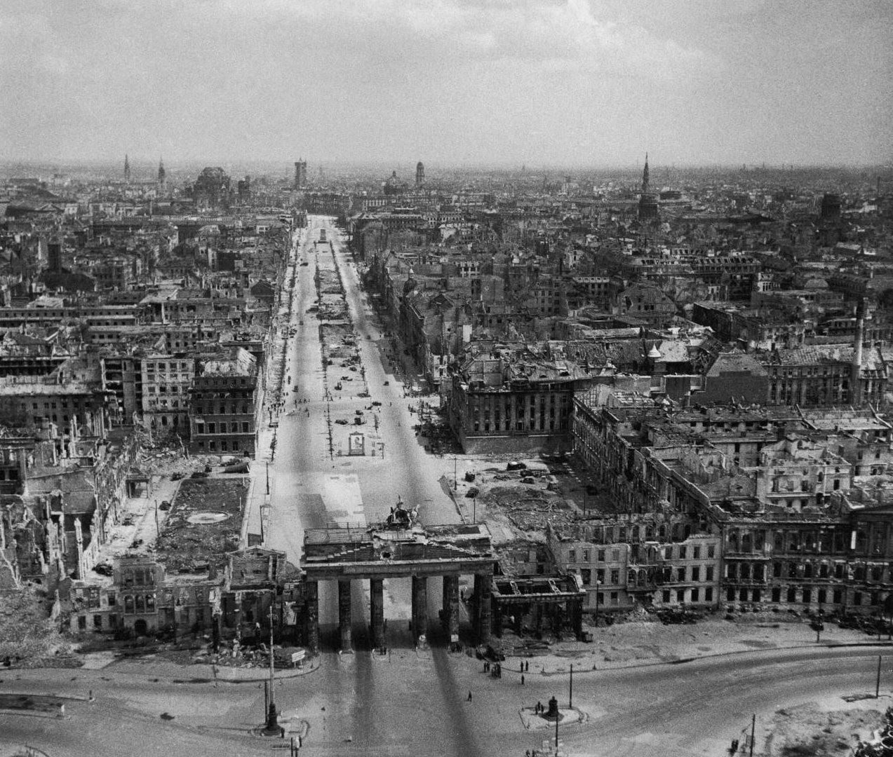 The area extending north beyond the Brandenburg Gate was later controlled by Soviets for almost 40 year. Note the portrait of Stalin in the center.