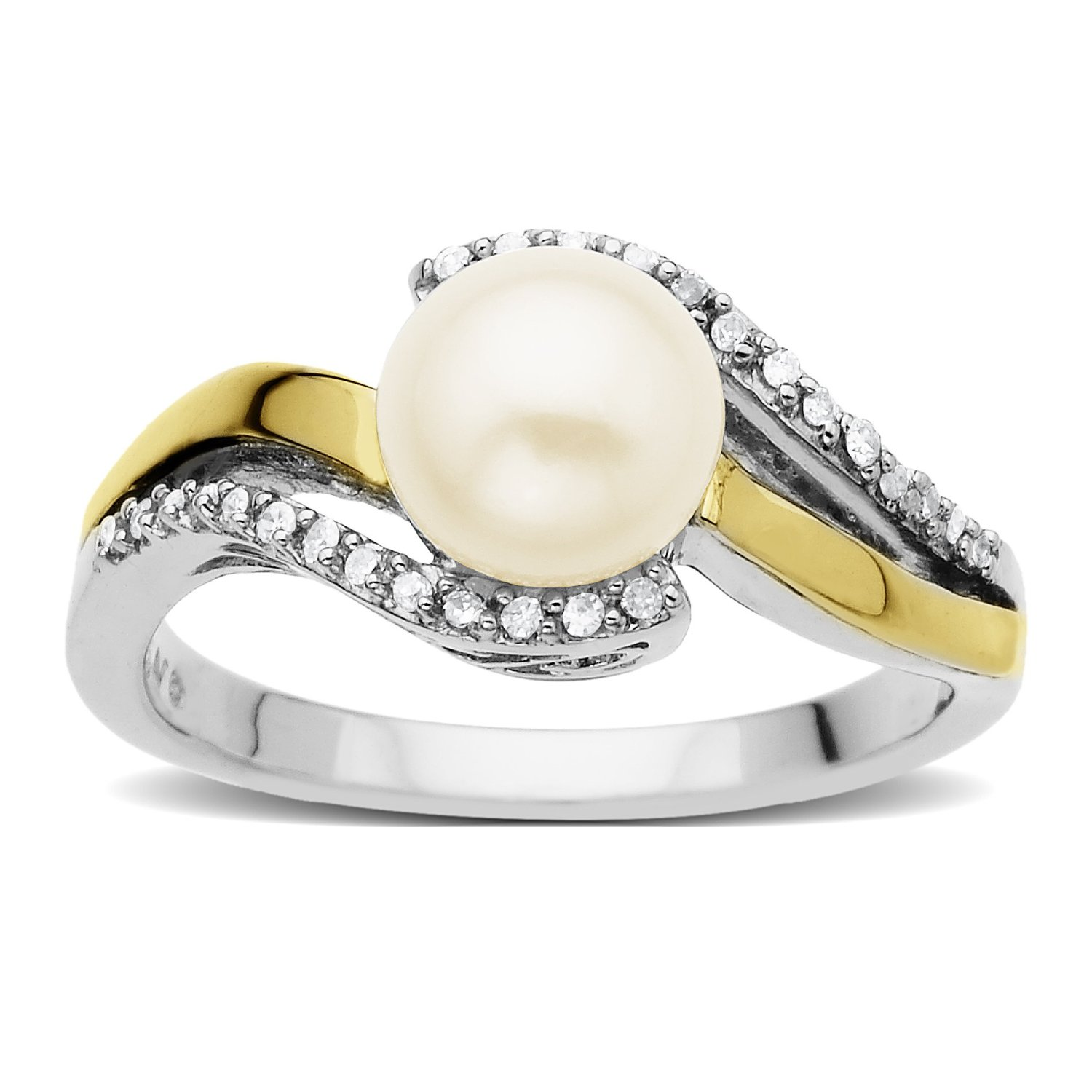 s g sterling silver 14k gold freshwater cultured pearl and