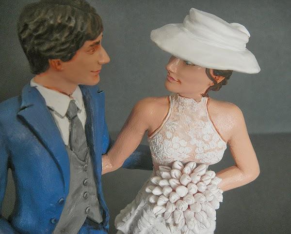 Sposini cake topper personalizzati torta nuziale volto sposa cappello orme magiche