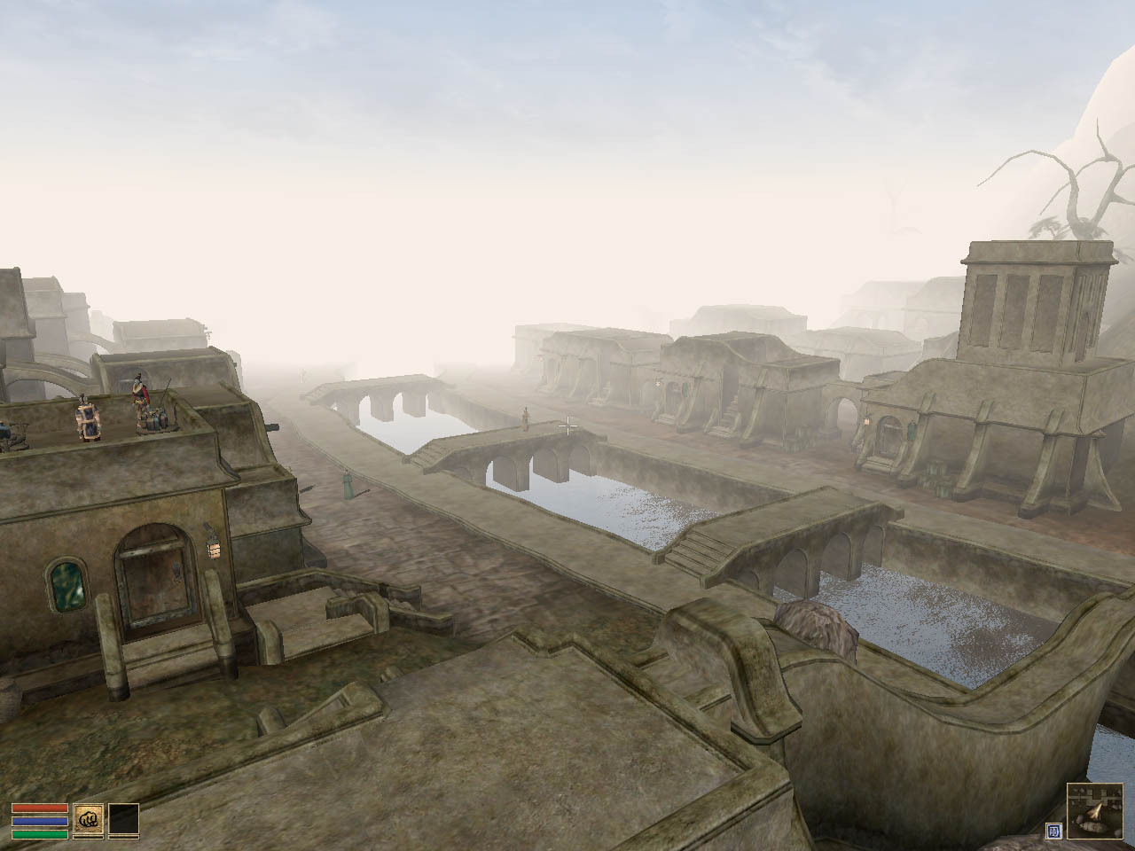The Town Of Balmora, Viewed From The Silt Strider Platform I'm Not Sure If  That's Bad Draw Distance Or It's Just Foggy Today I Don't Care, It Looks  Cool