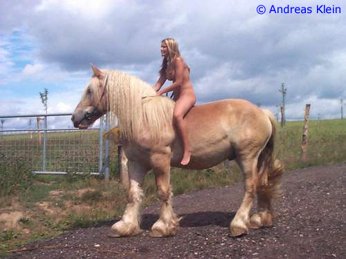 Naked Woman Riding Horse