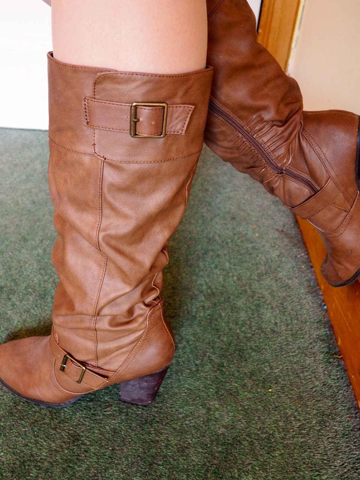 Light Layers outfit details | tall, brown leather, high heel boots