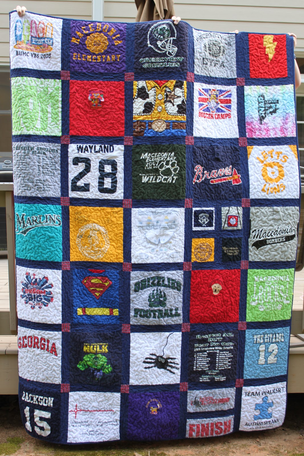 T shirt quilt frecklemama for How to make t shirt quilts easy