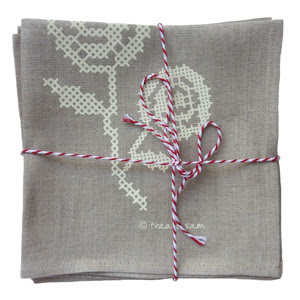 Thea and Sami Rose Cross Stitch napkin