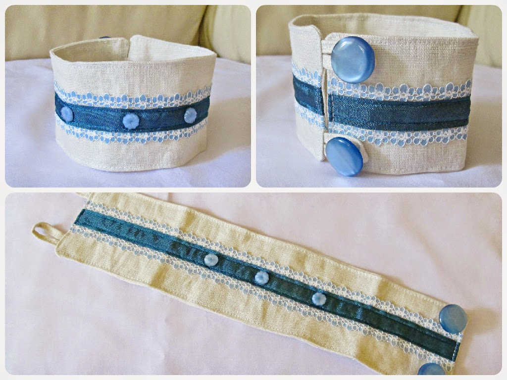 image two cheeky monkeys fabric cuff handmade blue ombre vintage cabochons linen cream buttons lace