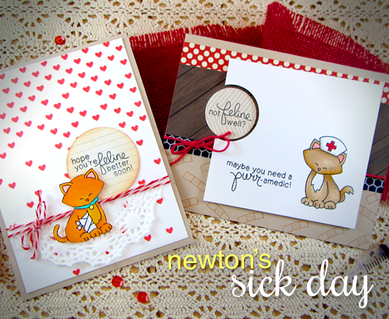 Get Well Kitty cards by Jennifer Jackson | Newton's Sick Day Stamp set by Newton's Nook Designs