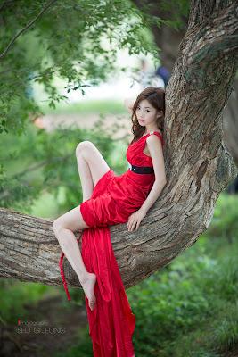 Chae Eun Sexy Model Red Dress