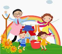 Kép egy vidám, négytagú családról a kertben, apa, anya, kislány és kisfiú