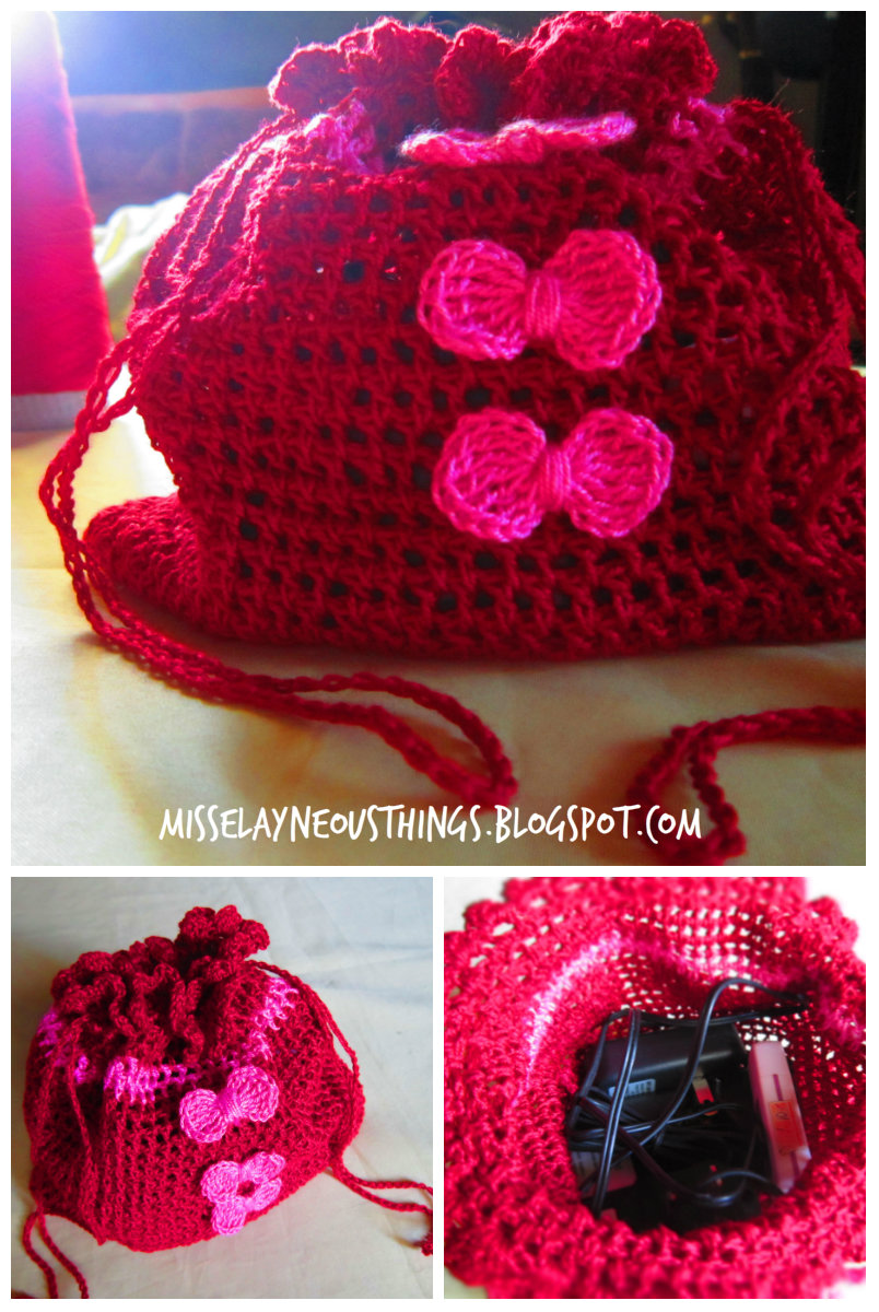 DIY Crochet Drawstring Bag - A Blog about Misselayneous Things