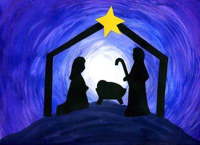 outdoor JOY nativity silhouette.